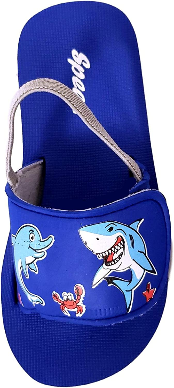 Toddler Shark Dolphin Ocean Themed Print Slide Sandal Flip Flop