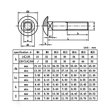 Ochoos M6 Carriage Bolts Stainless Steel Round Head Square Neck Screws Coach Bolt Fully Threaded Thread Diameter: M6, Length: 70mm x 10pcs