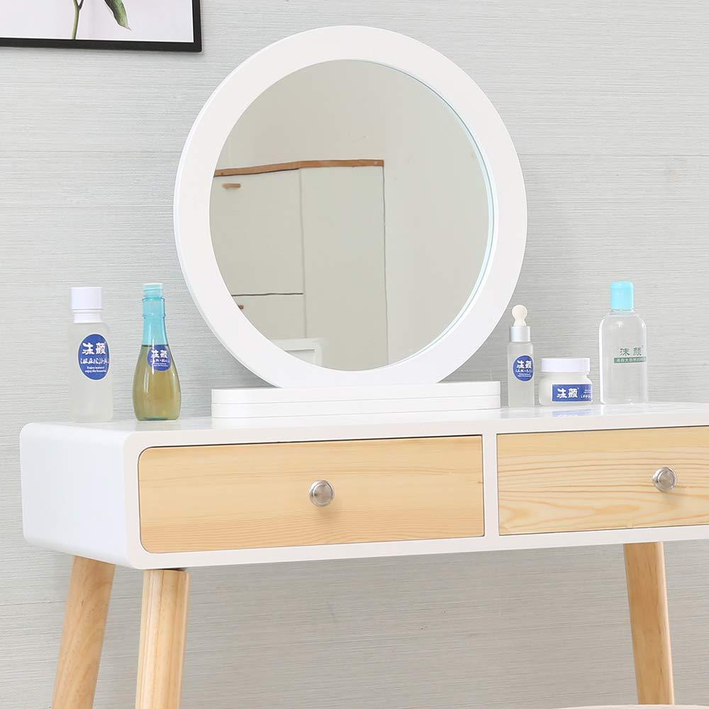 BOJU Petite Coiffeuse en Bois avec Miroir et tiroirs et Tabouret pour Chambre de Fille ou Femme