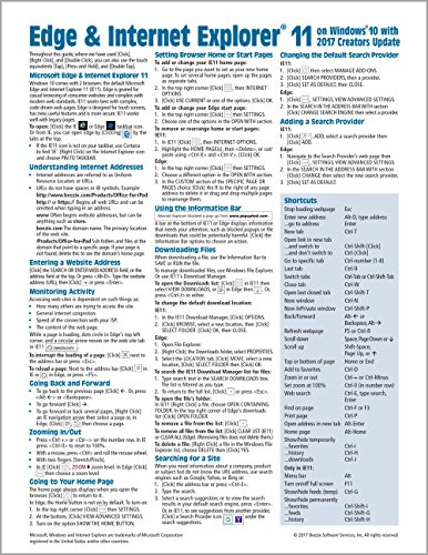 Microsoft Edge and Internet Explorer 11 for Windows 10 Creators Update Quick Reference Guide (Cheat Sheet of Instructions, Tips & Shortcuts - Laminated Card)