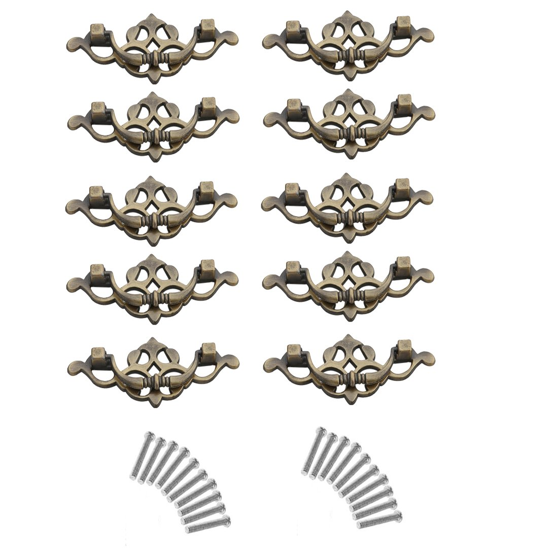 10Pcs Drawer Knobs, YIFAN 2.5inch Furniture Cupboard Handles Cabinet Drawer Wardrobe Door Pulls - Bronze