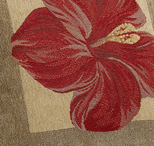 Red Hibiscus Decorative Pillow : Brentwood Panama Jacquard Chenille 18-by-18-inch Knife Edge Decorative Pillow, Red Hibiscus