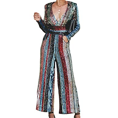 b2e3b5d65e Amazon.com  Women Sexy Trendy Deep V Neck Pop The Champagne Pocketed Rainbow  Sequins Palazzo Jumpsuit Rompers Clubwear  Clothing