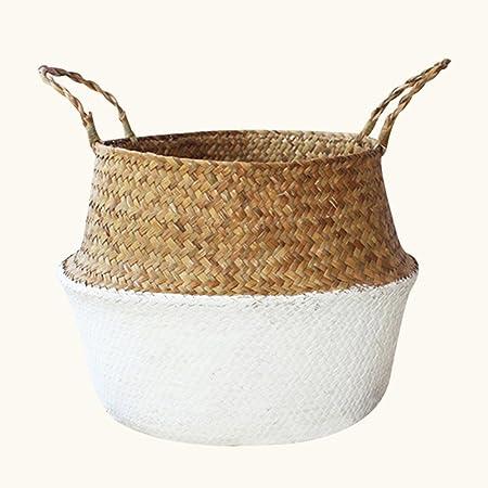 frutta cestino per stanza del beb/è Cestino naturale in paglia pieghevole intrecciato a mano copri-vaso per fiori biancheria sporca small cannuccia giocattoli