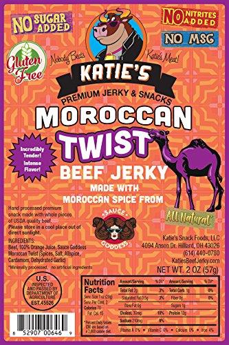 Moroccan Twist Beef Jerky-GLUTEN FREE, No Sugar Added - No Preservatives, Nitrites, or MSG