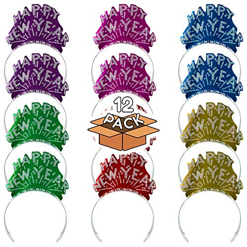 (12 Pack) New Years Tiara - Assorted Colors for New Years Party -