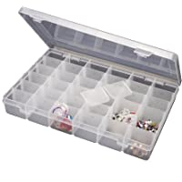 Inditradition 36 Grid Cells Plastic Multipurpose Jewelry Organizer Storage Box - Transparent