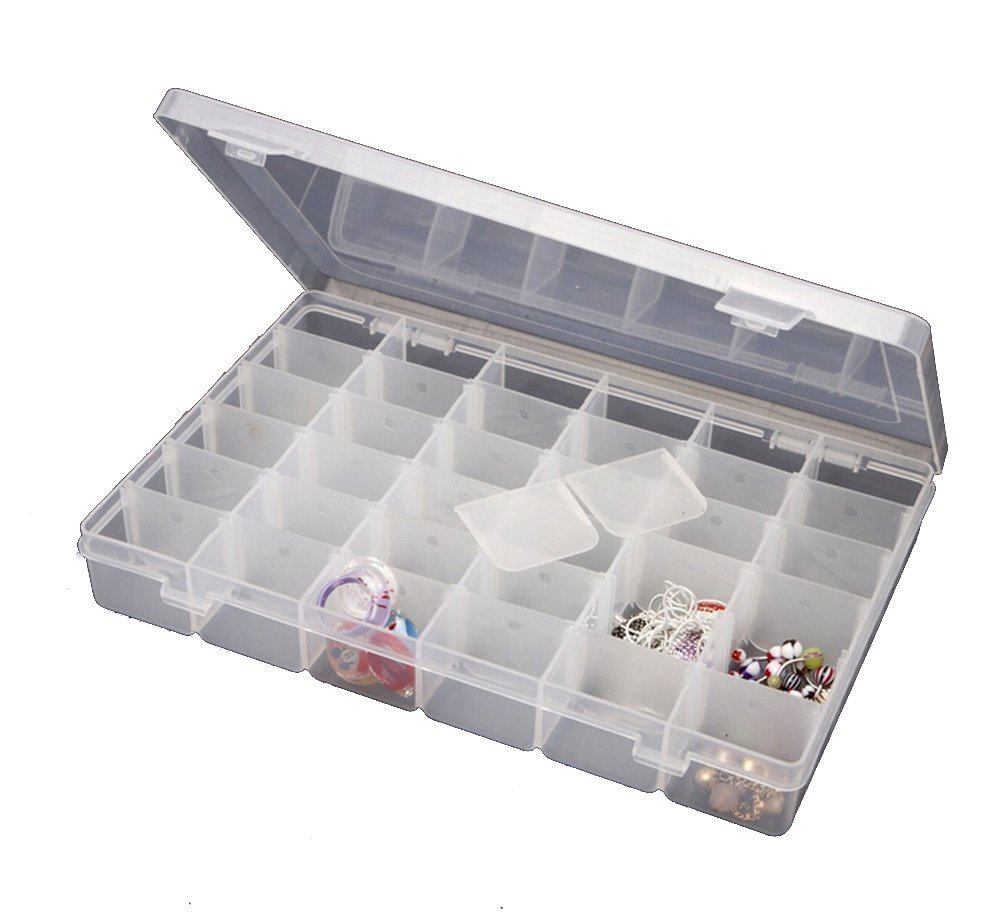 Inditradition 36 Grid Cells Plastic Multipurpose Jewelry Organizer Storage Box - Transparent product image