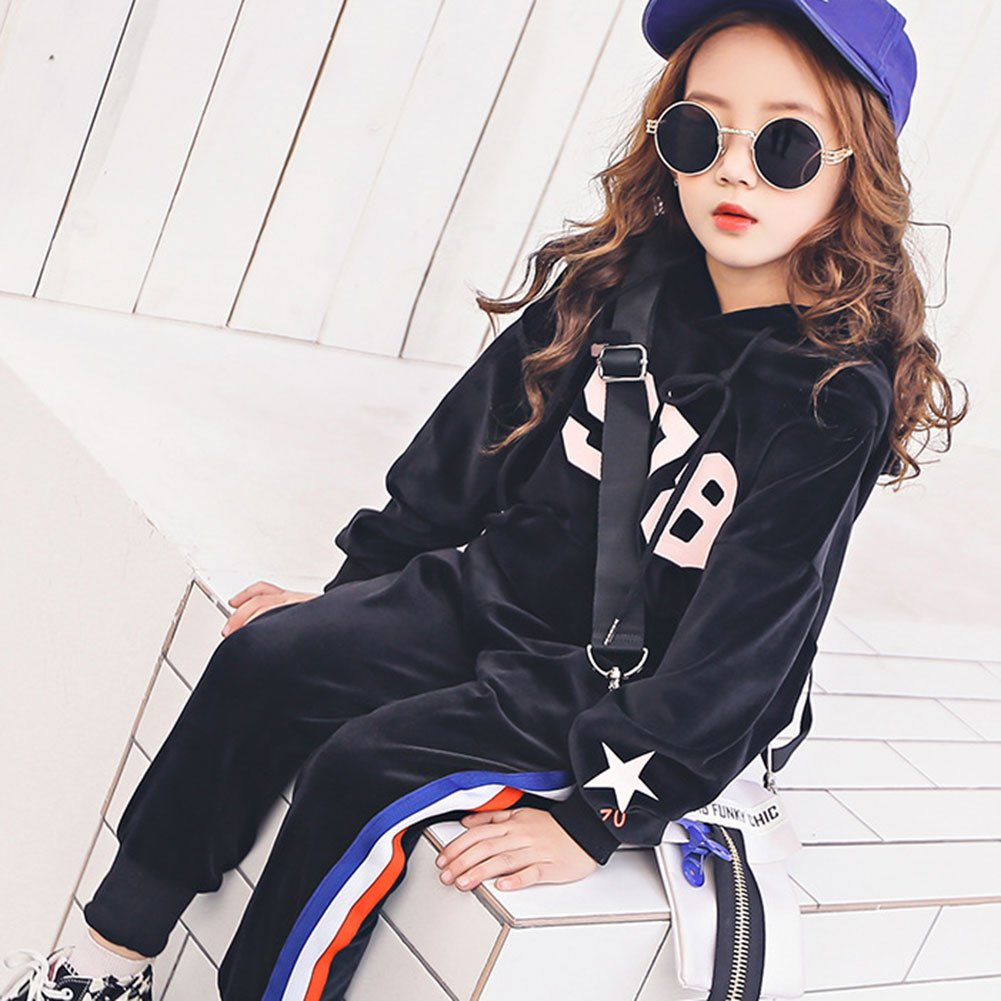 M&A Girls Casual Tracksuit Velvet Hoodie + Pants Clothing Set by M&A (Image #3)