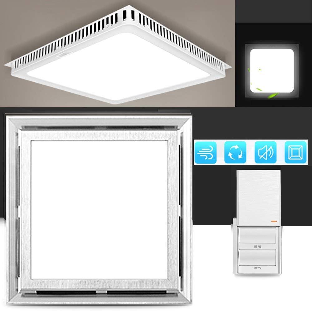Multifuncional Square Ventilador Extractor silenciosa, 220v extractor de aire baño/Cocina, 40w Ventilador Extractor Instalación en el techo, Ventilación iluminación,Silver-buttons-witch