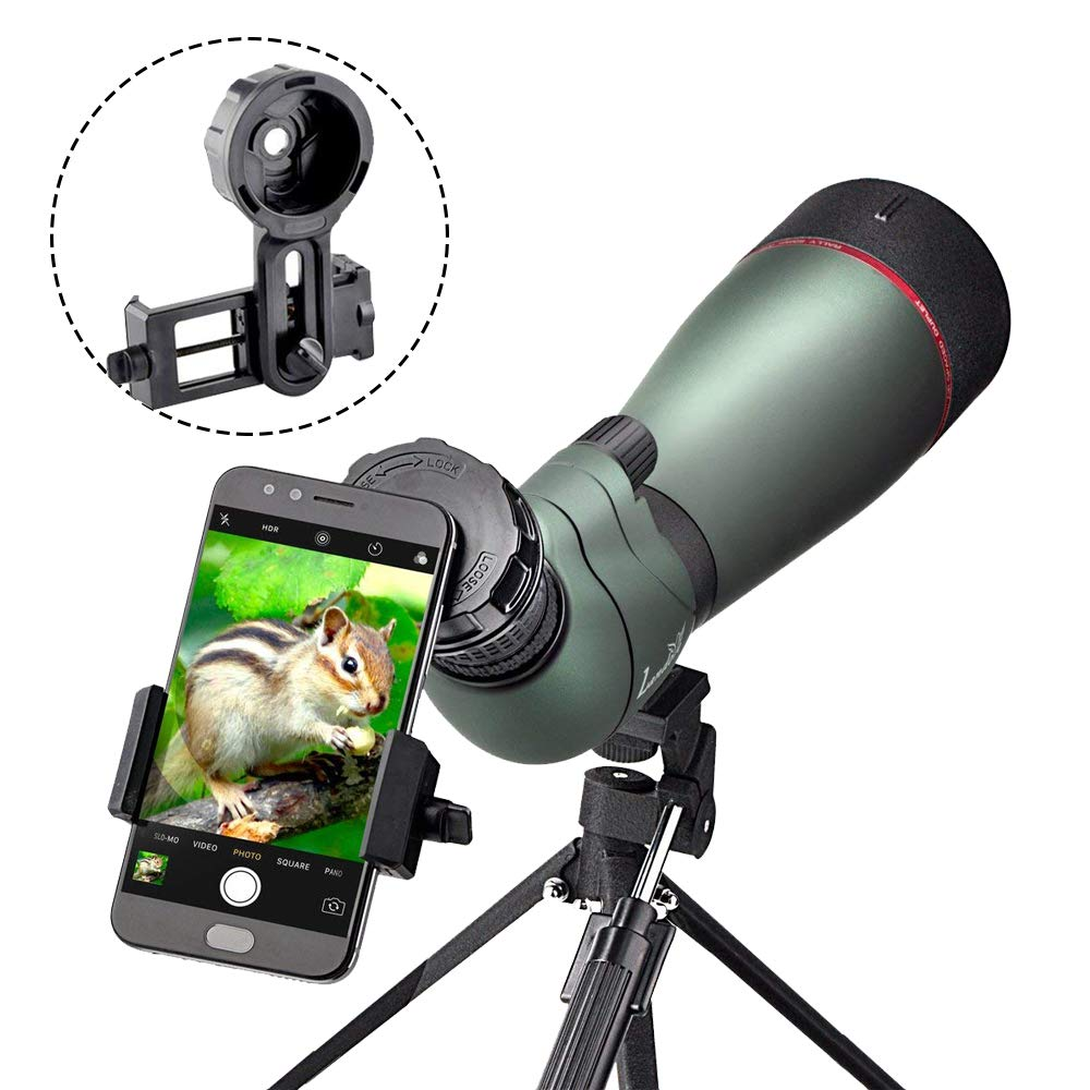 LANDOVE 20-60X 80 Prism Spotting Scope- Waterproof Scope for Birdwatching Target Shooting Archery Outdoor Activities -with Tripod & Digiscoping Adapter-Get The Beauty into Screen by LANDOVE