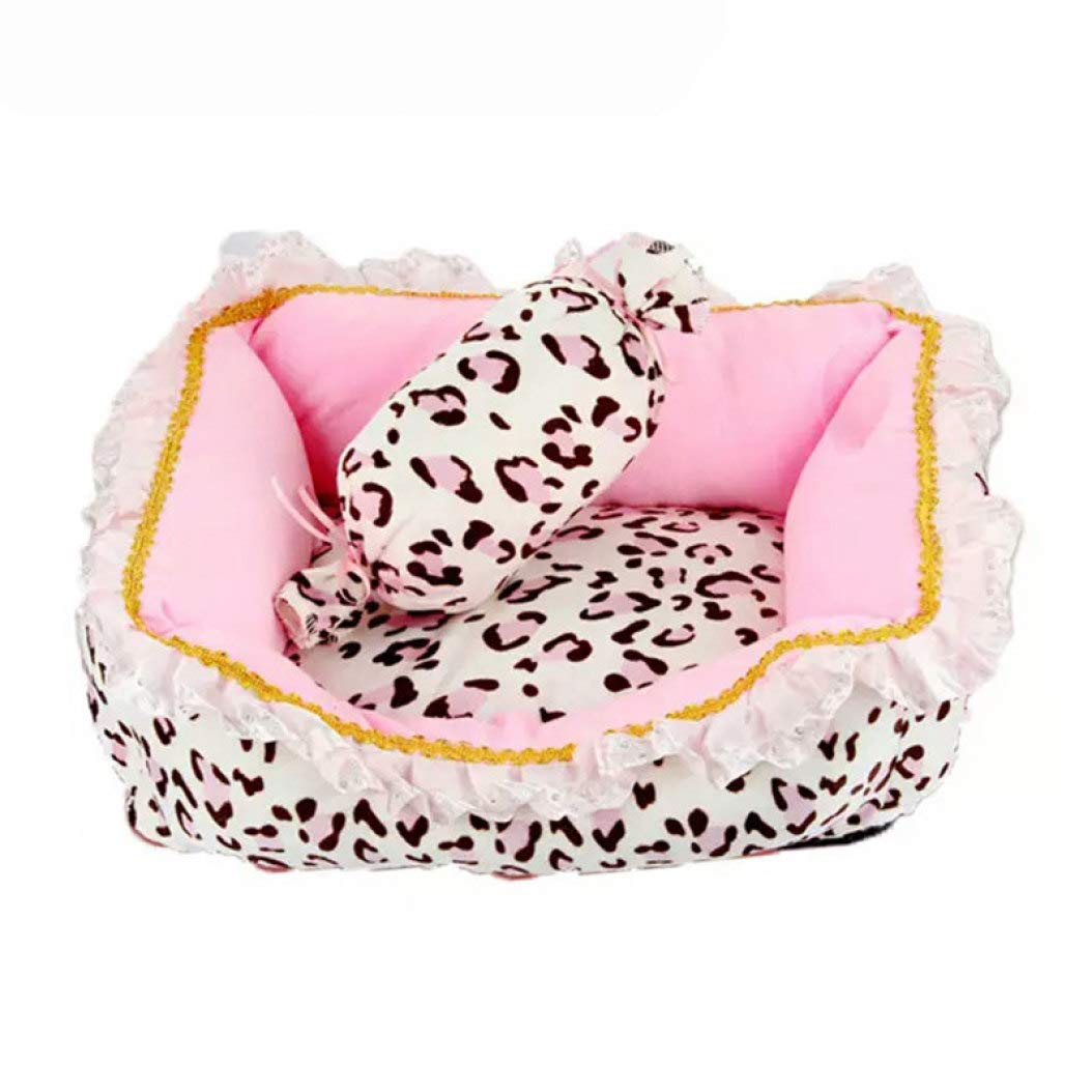 Winter Pet Dog Bed Cute Pink Leopard House for Small Dogs Luxury Princess Cat Bed Washable Removable Pet Sofa