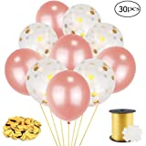 Coceca 20pcs 12inch Rose Paper Balloons and 10pcs 12inch Rose Balloons, with Balloon Ribbon, Clips for Wedding and Party Decoration