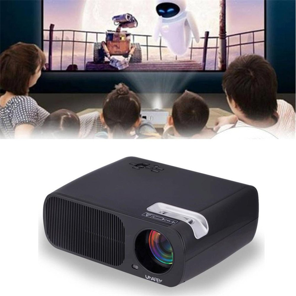 Botrong 2600 lumens 1080P Multimedia Portable HD LED Projector Home Theater Projector 800 480 Resolution (Black) by Botrong®