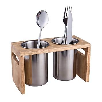 IMEEA cubiertos organizador Caddy con base de madera SUS304 acero inoxidable cubertería recipiente para utensilios de cocina para encimera de cocina 2-Piece ...
