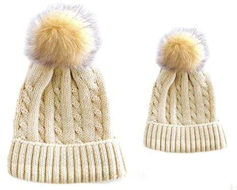 56b0632fd Soft Touch Mummy and Baby Matching Cable Knit Hats (Adult and ...
