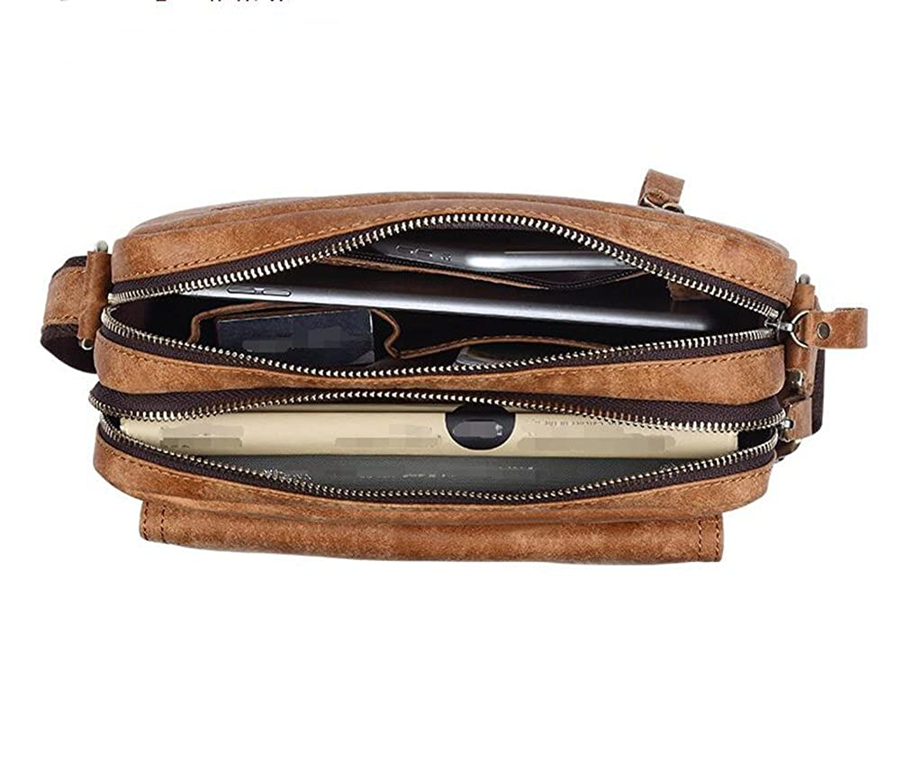 Leather Man Bag Mens Messenger Shoulder Bag Mobile Phone Belt Pouch with Top Handle 23x8x18cm,#1