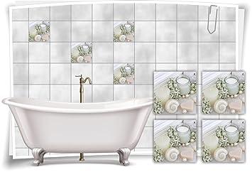 Hervorragend Fliesenaufkleber Fliesenbild Kerze Muscheln Perle Creme Wellness SPA  Aufkleber Deko WC Bad, 10x10cm
