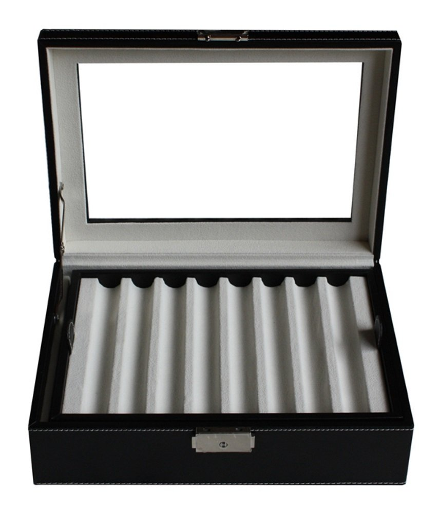 Elegant 16 Piece Black Leatherette Pen Display Case Storage and Fountain Pen Collector Organizer Box with Glass Window by TimelyBuys (Image #4)