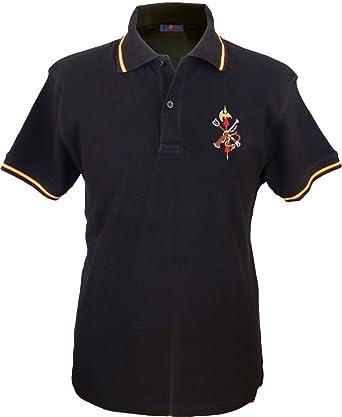 Pi2010 - Polo Legión Española Hombre/Bandera de España en Cuello y magas/Negro