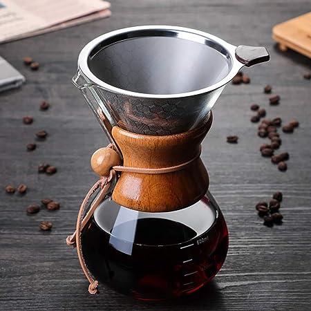 Toutou Cafetera de Vidrio, Papel de Filtro Goteo Libre de café Embudo de filtración de la Copa, Apto para la Cocina, Familia, Café,Marrón: Amazon.es: Hogar