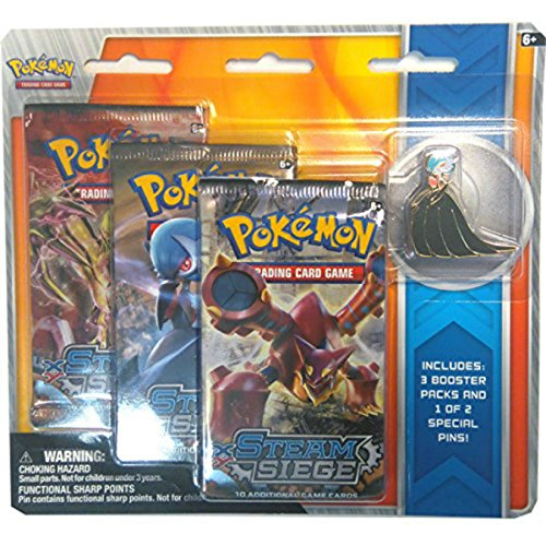 Pokemon TCG XY Steam Siege Shiny Mega Gardevoir Pin Set featuring, 3 Booster Packs, and 1 of 2 Exclusive Pokemon Pins (Delta Ii Rocket)