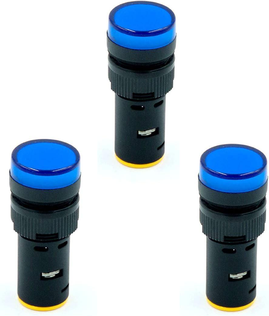Flush Panel Mount 16mm AD56-16DS Blue LED ETIAL 3Pcs AC//DC 6V Indicator Lights