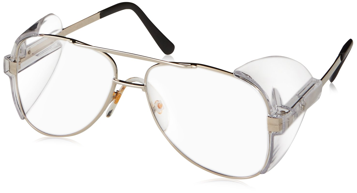 a88871885e95 Crews 61110 Engineer Aviator Shape 58-mm Safety Glasses with Gold Frame and  Clear Lens