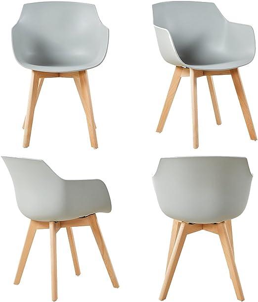 EGGREE 4er Set Esszimmerstühle Skandinavisch mit Armlehne und Starke Buche Stuhlbeine, Modern Design Sessel für Büro Küche Wohnzimmer,Grau