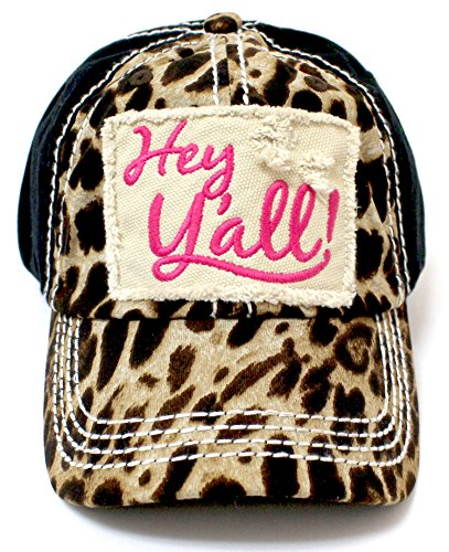 CAPS 'N VINTAGE Leopard & Pink Hey Y'all! Patch Embroidery Women's Hat