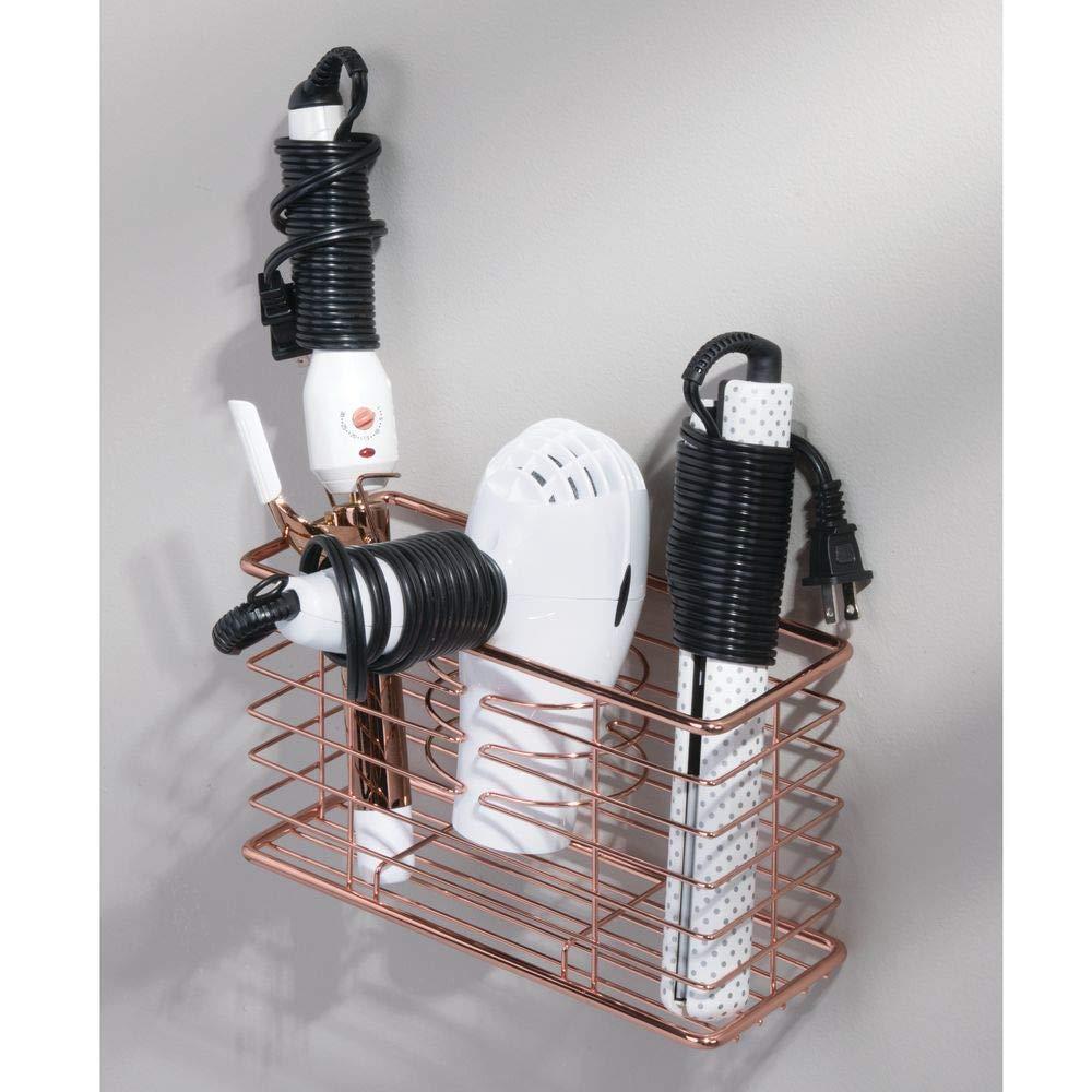 mDesign Soporte para secador de pelo - Organizador de baño de pared con 3 compartimentos - Estante multifunción para secador, rizador eléctrico y plancha ...