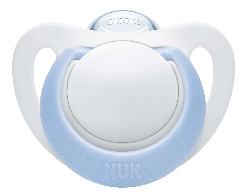 NUK Genius Silikon-Schnuller 2 St/ück Blau 0-2 Monate f/ür zarte Neugeborene Boy