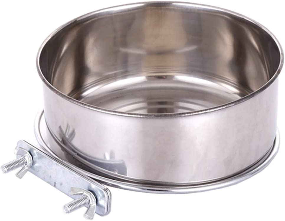 Pet Food Water Bowl with Clamp Holder Stainless Steel Coop Cup Hanging Feeder for Dog Bird Parrot Cat Rabbit