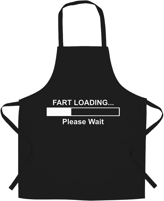 Novelty Chef's Apron Fart Loading Bar Please Wait Black One Size