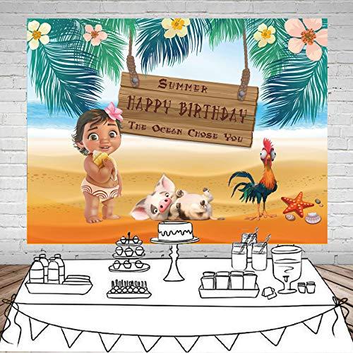 - GYA 5x3ft Moana Birthday Party Vinyl Backdrop 1st Birthday Party Sea Summer Photography Backdrop Baby Shower Moana Vinyl Background Table Decoration th68-5x3FT
