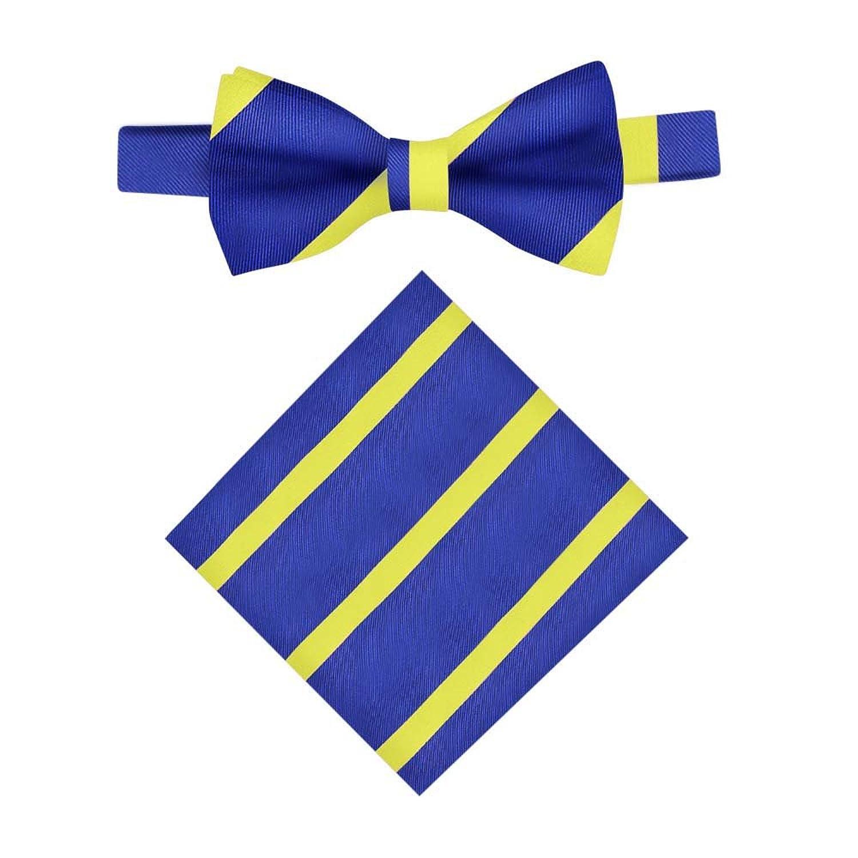 Conjunto Pajarita & Pañuelo de bolsillo navy con rayas amarillas   Regalos para hombres   Pajaritas para padrinos   Pajaritas de boda