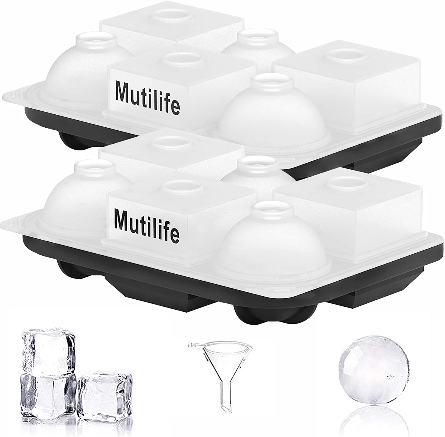 Square Ice Cube Molds, Mutilife Silicone Ice Cube Mold Large Square Ball Ice Molds with Lid 6 Cavity for Chilling Baby Food Whiskey Cocktail Drinks Reusable and BPA Free (2 Pack )