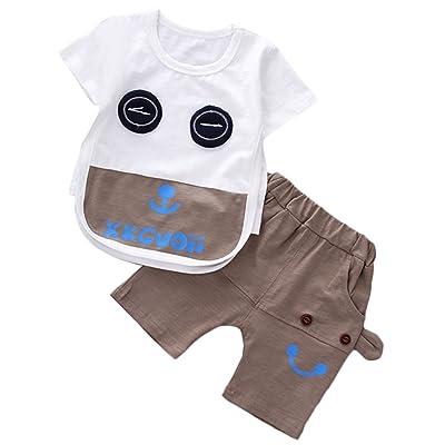 LLIOFUS Toddler Boys 2ps Cotton Cartoon Short Sleeve Cool Shorts Set