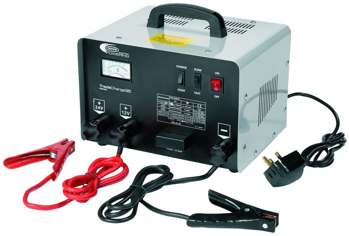2 Niveaux de Charge Pinces Haute Capacit/é Isol/ées 12V//24V sur Chariot 35 Amp Anti-Chocs Ring RCBT35 Chargeur//D/émarreur de Batterie Professionnel Ring