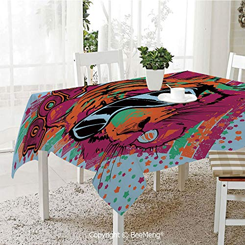 (BeeMeng Large dustproof Waterproof Tablecloth,Family Table Decoration,Popstar Party,Popstar Poster Design Artistic Lion Painted with Sunglasses Dots and Stars Decorative,Multicolor,70 x 104)