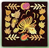 MARVELOUS UZBEK SILK EMBROIDERED PILLOW CASE SUZANI ''LEAF FALL'' A1690