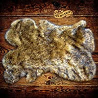 Coyote Wolf / Shaggy Faux Fur Area Rug / Shag Pelt Throw Rug / Faux Flokati / Ultra Suede Lined (5x7)
