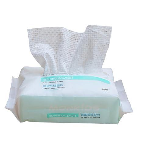 Lurrose Toalla limpiadora facial húmeda y seca, Paños extraíbles desechables no desechables de secado rápido