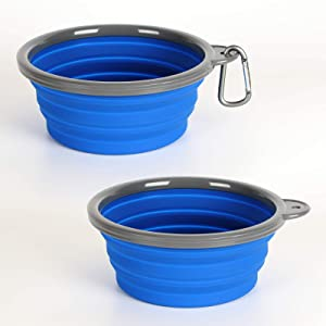AOII Collapsible Dog Bowl, 2 Pack Collapsible Dog Water Bowls for Cats Dogs, Portable pet Feeding Watering Tray for Outdoor Camping 1000mL/33oz Blue