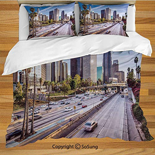 SoSung Travel Decor Queen Size Bedding Duvet Cover Set,Downtown Cityscape of Los Angeles California USA Avenue Buildings Palms Decorative 3 Piece Bedding Set with 2 Pillow Shams,Blue Grey Green