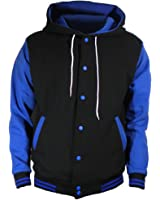 U World Men's Cotton Hoodie Varsity Baseball Jacket Red at