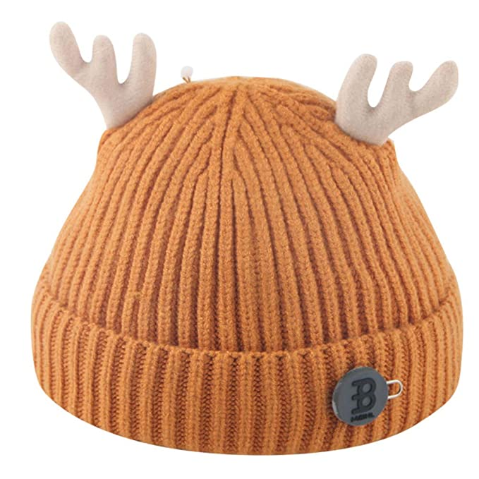 Topgrowth Cappello Bambini Natale Cervo Berretto in Maglia Bimba Palla di  Pelo Cappello di Beanie Neonato 025544262802