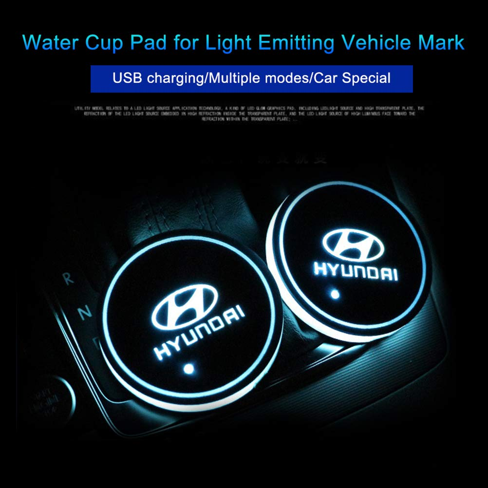 Lispeed 2pcs LED Car Logo Cup Holder Pads 7 Colors Changing USB Charging Mats Bottle Coasters Car Atmosphere Lamps Mercedes
