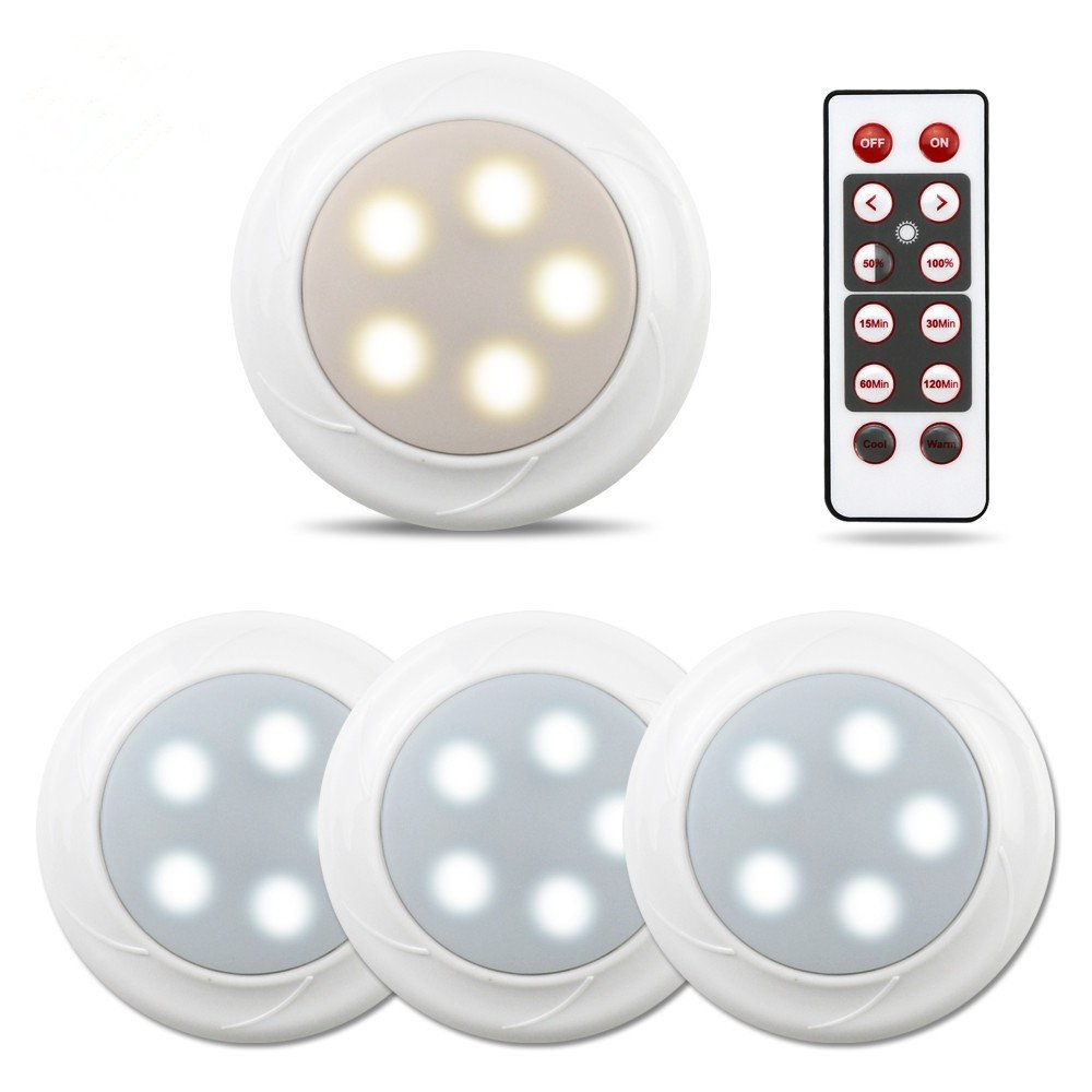 Focondot 4Pack Puck Lights, Wireless Battery Powered Lights,Two Switchable Color and Memory Function,Under Cabinet Lighting with Remote Control for Kitchen,Closets,Bedroom,Stairs,Hallway,Nursery