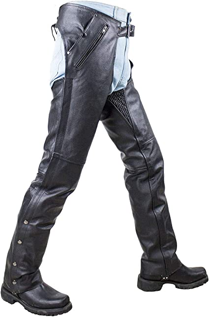 M-BOSS MOTORCYCLE APPAREL-BOS15508-BLACK-Men/'s pant style zipper pocket naked cowhide leather chaps.-BLACK-LARGE